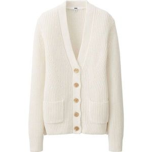 Uniqlo Cable Knit White Button Cardigan Size M